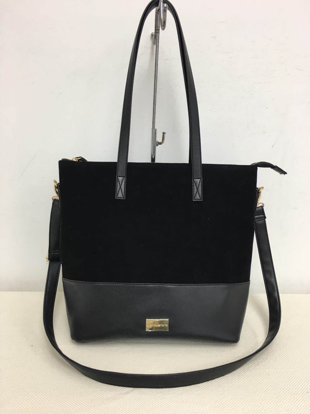 Black Double Slouch Bag